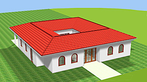 Winkelbungalow mit Atrium 142 m² Wohnfläche plus 16 m² Atrium (Innengarten)