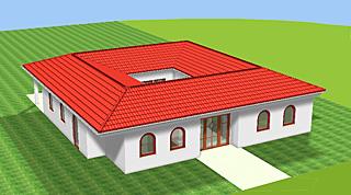 Bungalow mit Atrium 142 m² Wohnfläche plus 16 m² Atrium (Innengarten)