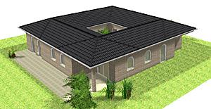 Winkelbungalow 142 m² mit Atrium 16 m² mit Klinkerfassade