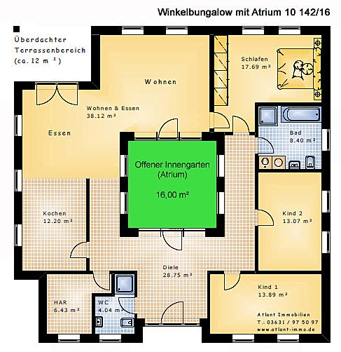 Atrium 10 winkelbungalow 142 16 einfamilienhaus neubau for Atriumhaus bauen