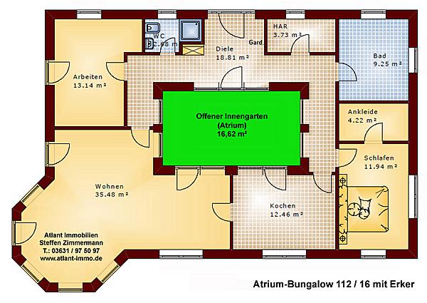 atrium 112 16 bungalow mit erker einfamilienhaus neubau massivbau stein auf stein. Black Bedroom Furniture Sets. Home Design Ideas
