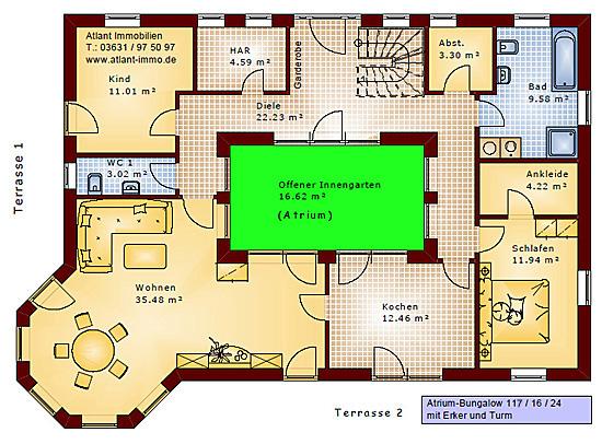 atrium bungalow 117 16 24 grundriss mit erker und turm einfamilienhaus neubau massivhaus stein. Black Bedroom Furniture Sets. Home Design Ideas
