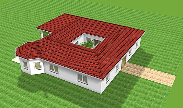 Winkelbungalow 165 m² mit Atrium und Erker