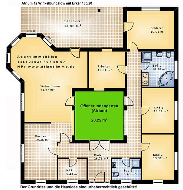 atrium 12 winkelbungalow mit erker 165 20 einfamilienhaus neubau massivbau stein auf stein. Black Bedroom Furniture Sets. Home Design Ideas