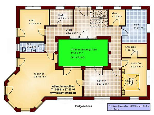 atrium bungalow 15 130 16 grundriss mit erker und turm einfamilienhaus neubau massivhaus stein. Black Bedroom Furniture Sets. Home Design Ideas