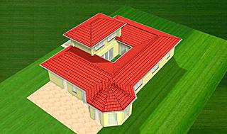 Bungalow mit Atrium 16 m² Erker und Turm 130 m² Wohnfläche