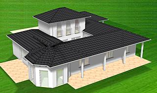 atrium bungalow 15 130 16 mit erker und turm einfamilienhaus neubau massivhaus stein auf stein. Black Bedroom Furniture Sets. Home Design Ideas