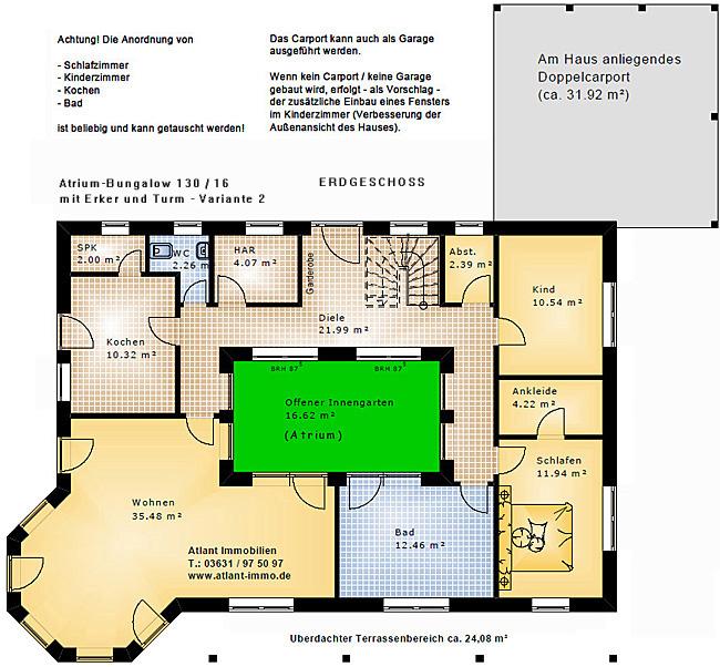 atrium bungalow 15 130 16 variante 2 grundriss mit erker und turm einfamilienhaus neubau. Black Bedroom Furniture Sets. Home Design Ideas