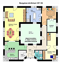 atrium hauptseite bungalow winkelbungalow einfamilienhaus innengarten neubau massivbau stein auf. Black Bedroom Furniture Sets. Home Design Ideas