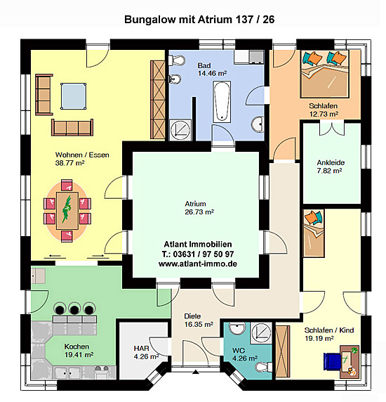 atrium 137 26 ka bungalow mit atrium einfamilienhaus neubau massivbau stein auf stein. Black Bedroom Furniture Sets. Home Design Ideas