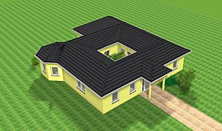 Winkelbungalow mit Atrium und Erker 129 m² Wohnfläche Massivhaus