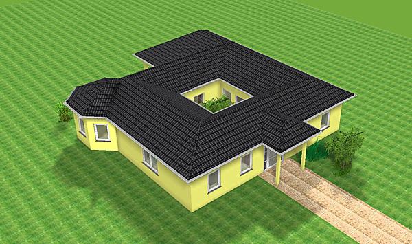 atrium 13 grosse hausansicht winkelbungalow mit erker 129 16 einfamilienhaus neubau massivbau. Black Bedroom Furniture Sets. Home Design Ideas