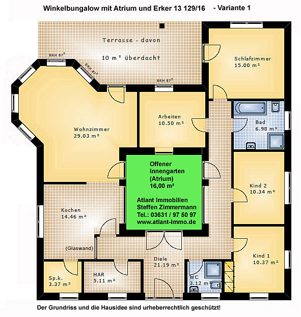 atrium 13 winkelbungalow mit erker 129 16 einfamilienhaus neubau massivbau stein auf stein. Black Bedroom Furniture Sets. Home Design Ideas