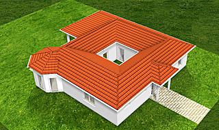 Winkelbungalow mit Atrium 13 129 16 Variante 3 129 m² Wohnfläche Hausansicht