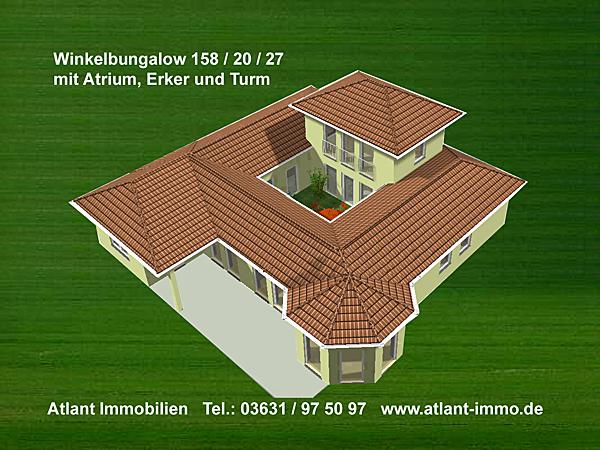 atrium 158 20 27 grosse hausansichten winkelbungalow mit erker und turm einfamilienhaus neubau. Black Bedroom Furniture Sets. Home Design Ideas