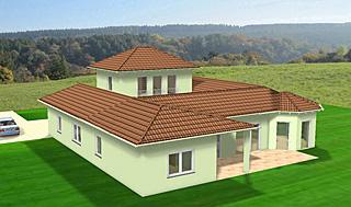 atrium 158 20 27 winkelbungalow mit erker und turm einfamilienhaus neubau massivhaus stein auf stein. Black Bedroom Furniture Sets. Home Design Ideas