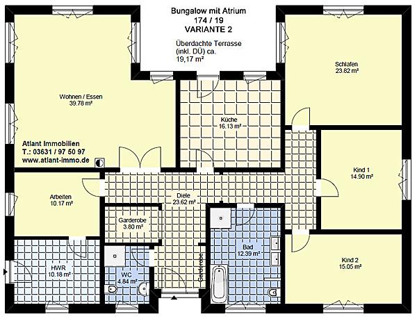 bungalow 174 19 mit atrium einfamilienhaus neubau massivbau stein auf stein. Black Bedroom Furniture Sets. Home Design Ideas