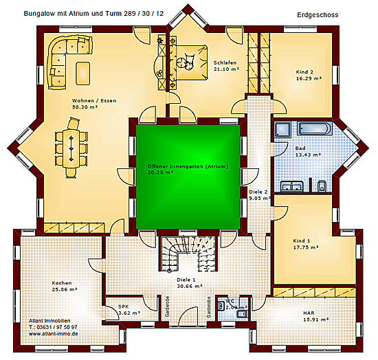 Berühmt Atrium 289 30 12 Bungalow mit Turm Schloss Einfamilienhaus Neubau YB57