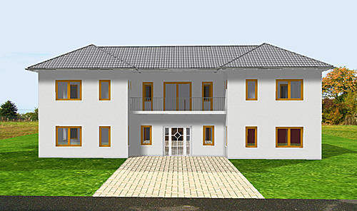 atrium 289 30 12 ansicht 2 1 bungalow mit turm schloss einfamilienhaus neubau massivhaus stein. Black Bedroom Furniture Sets. Home Design Ideas