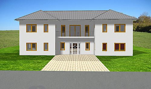 atrium 289 30 12 ansicht 2 2 bungalow mit turm schloss einfamilienhaus neubau massivhaus stein. Black Bedroom Furniture Sets. Home Design Ideas