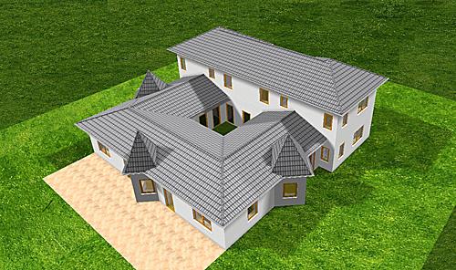 atrium 289 30 12 ansicht 2 8 bungalow mit turm schloss einfamilienhaus neubau massivhaus stein. Black Bedroom Furniture Sets. Home Design Ideas