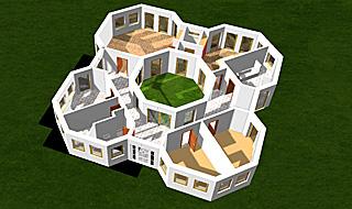 bungalow oktaeder mit atrium 163 27 bungalow einfamilienhaus neubau massivbau stein auf stein. Black Bedroom Furniture Sets. Home Design Ideas
