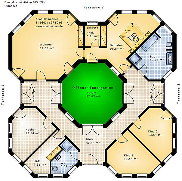 Grundriss bungalow mit atrium  Bungalow Oktaeder mit Atrium 163 27 Bungalow Einfamilienhaus ...