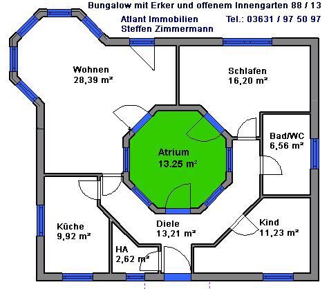 Bungalow 88 m² mit Atrium 13 m² Grundriss