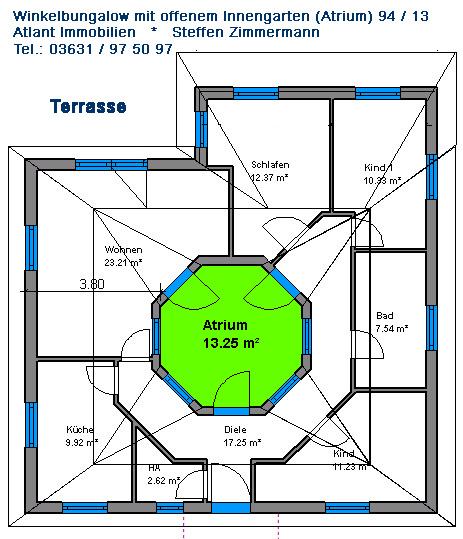 Atrium 3 3 bungalow einfamilienhaus neubau massivbau stein for Atriumhaus bauen