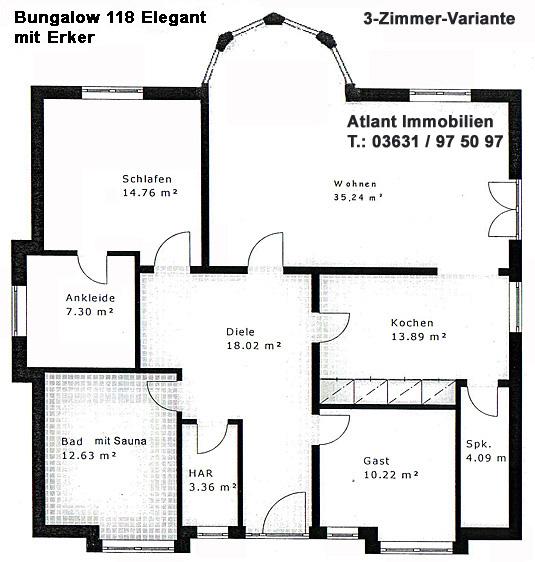 Grundriss Bungalow Mit Erker : Bungalow Elegant 118 mit Erker Einfamilienhaus Neubau Massivbau