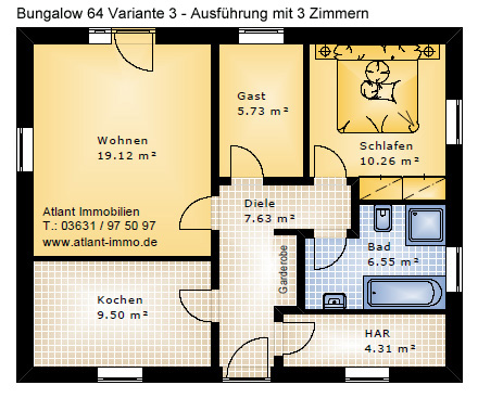 bungalow neubau beste wohnqualit t bungalows ab 64 m. Black Bedroom Furniture Sets. Home Design Ideas