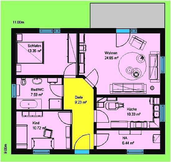Bungalow 81 m² Grundriss Erdgeschoss