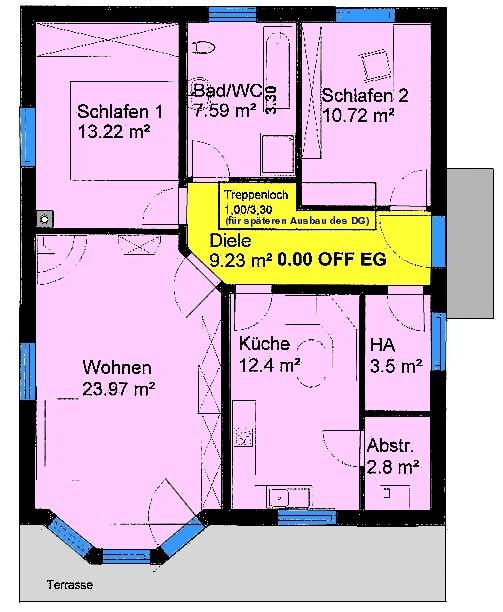 Bungalow 83 m² Grundriss Erdgeschoss