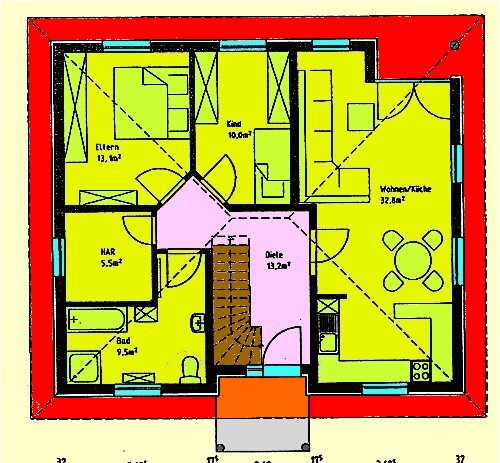 Bungalow 84 m² Wohnfläche Grundriss Erdgeschoss