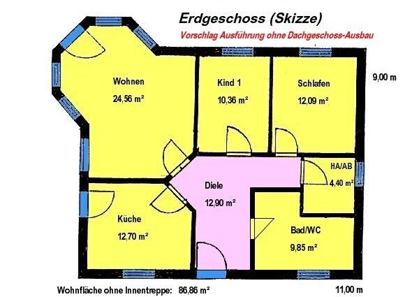 Bungalow mit Lichterker 86 m² Grundriss