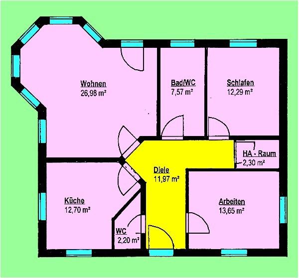 Bungalow 89 m² mit Lichterker Grundriss Erdgeschoss