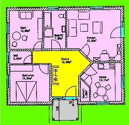 Bungalow 87 m² Grundriss Erdgeschoss