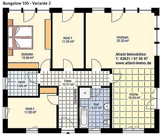 Bungalow 105 m² Einfamilienhaus Neubau Massivbau Grundriss Stein auf ...
