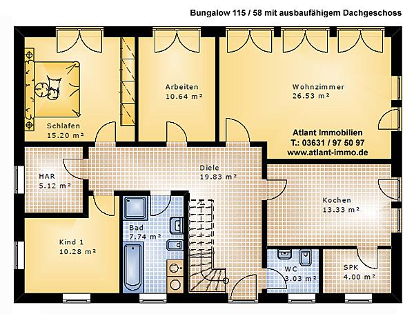 Bungalow 115 58 Einfamilienhaus Neubau Massivbau Grundriss Stein ...
