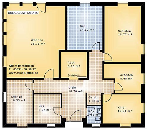 Grundriss bungalow 5 zimmer  Bungalow 128 ATG Einfamilienhaus Neubau Massivbau Grundriss Stein ...