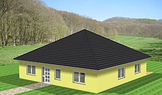 bungalow 131 mit zeltdach einfamilienhaus neubau massivbau grundriss stein auf stein. Black Bedroom Furniture Sets. Home Design Ideas
