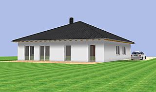 bungalow 137 mit zeltdach einfamilienhaus neubau massivbau grundriss stein auf stein. Black Bedroom Furniture Sets. Home Design Ideas