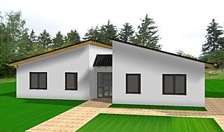 bungalow 157 mit pultdach einfamilienhaus neubau massivbau grundriss stein auf stein. Black Bedroom Furniture Sets. Home Design Ideas