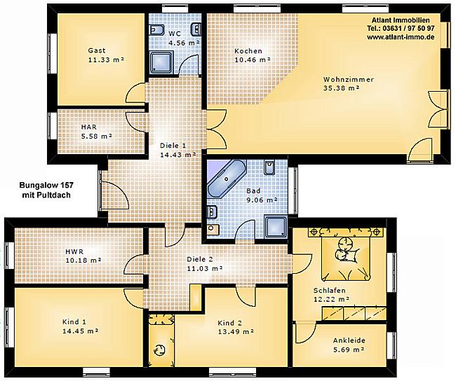 Bungalow 157 Mit Pultdach Einfamilienhaus Neubau Massivbau Grundriss
