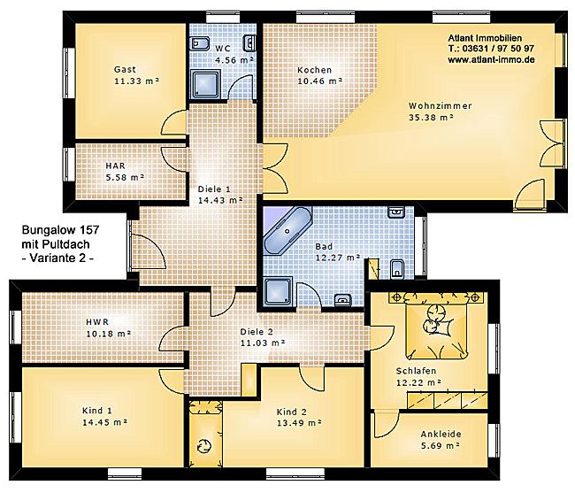 Bungalow 157 Mit Pultdach Einfamilienhaus Neubau Massivbau