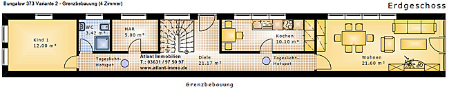 bungalow 373 variante 2 gr turm sehr schmaler grundriss bungalow einfamilienhaus neubau. Black Bedroom Furniture Sets. Home Design Ideas