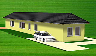 bungalow 373 variante 1 sehr schmaler grundriss bungalow einfamilienhaus neubau massivbau. Black Bedroom Furniture Sets. Home Design Ideas