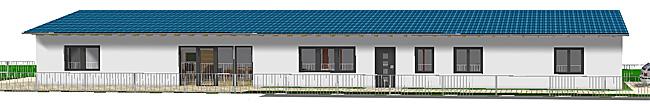 Bungalow 373 Variante 2 mit 3 Zimmern sehr schmales Haus Ansicht 1