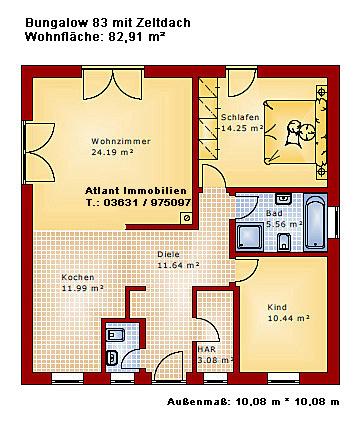 bungalow 83 mit zeltdach einfamilienhaus neubau massivbau. Black Bedroom Furniture Sets. Home Design Ideas