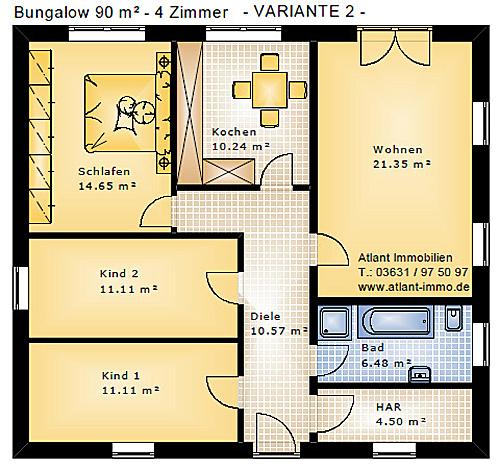 Grundriss bungalow 4 zimmer  Bungalow 90 4 Zimmer Einfamilienhaus Neubau Massivbau Stein auf Stein